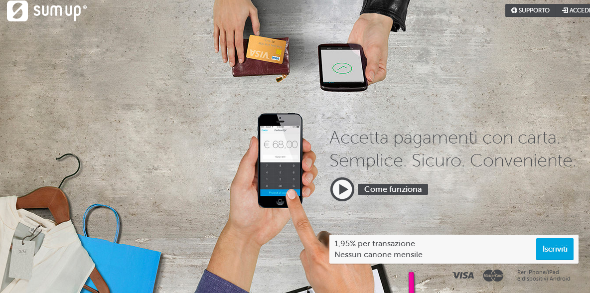 Pagamento mobile per iPhone  iPad e Android   SumUp